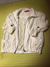 Boohoo Lace Cream White  Zip Up Roll Sleeve Jacket 16