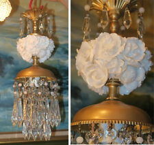 Old lamp Porcelain Ivory Rose Brass tole chandelier Swag vintage crystal prism
