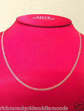 Mens Womens 14k Yellow Gold Necklace Flat Gucci Chain 2mm 22 inch Diamond Cut
