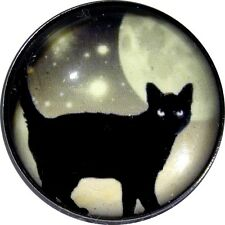 Black Cat at Night w Moon and Stars BC 08 Crystal Dome Button FREE US SHIPPING