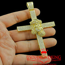 14K YELLOW GOLD FINISH GENUINE LAB DIAMOND CUSTOM HOLY JESUS CROSS PENDANT CHARM