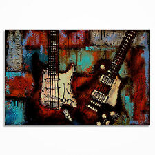 Guitar painting on canvas, Original Textured Large Music Art -  MADE TO ORDER