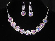 BRIDAL SILVER W. AB IRIDESCENT RHINESTONE CRYSTAL NECKLACE AND EARRINGS SET