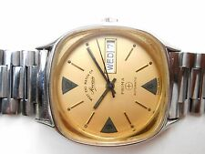 RARE VINTAGE SS SQUARE CASE YELLOW GOLD DIAL WESTEND WATCH SOWER PRIMA FOR MEN