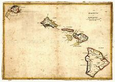 MAP  1837 KALAMA HAWAIIAN ISLANDS HAWAII MAUI OAHU KAUAI REPLICA PRINT PAM1688
