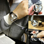 Fashion Mens Women Stainless Steel Leather Band Sport Analog Quartz Wrist Watch