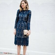 ZARA NAVY BLUE LACE GUIPURE EMBROIDERED CROCHET MIDI DRESS  9775/041 XS
