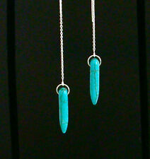 *IAJ* TURQUOISE SPIKE DROP DANGLE, STERLING SILVER  Threads Threaders Earrings