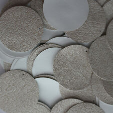 30mm ROUND SEQUIN PAILLETTES ~ BEIGE TAN LEATHER Effect Disc ~  Made in USA