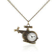 Alloy Helicopter Necklace Pendant Quartz Pocket Watches Iron Chain WACH-N006-19