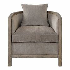 Weathered Wood Gray Chenille Tub Arm Chair | Accent Barrel Round Comfy