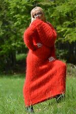 DUKYANA handgestrickt MOHAIR KLEID langhaar ROT Fuzzy mohair sweater dress XL