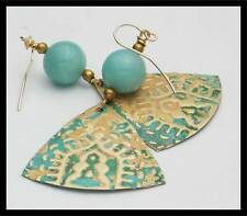 EXOTIC INDIA - Handforged Embossed Patinated Bronze & Amazonite Earrings