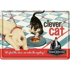 Clever Cat Blechpostkarte Blechschild Metal Tin Post Card Sign 10 x 14 cm