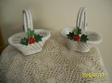 Italian Capodimonte Vintage 2 Christmas White Basket's Holiday Holly Berries