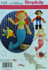 Simplicity 1131 Craft Sewing PATTERN for STUFFED Mermaid Pirate Shark Fish *NEW*