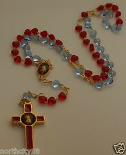 Rosary Necklace Red Blue 6mm glass heart beads Divine Mercy Rosary bead necklace