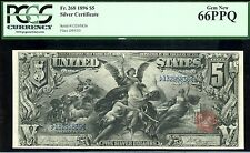 $5 1896 EDUCATIONAL SILVER CERTIFICATE PCGS 66PPQ MORE WELL INKED THAN ANY