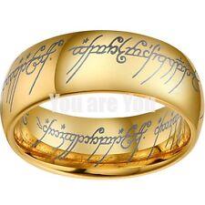 18K Gold Lord Of Ring Elvish Mens Womens Bridal Tungsten Wedding Band SIZE 10
