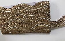 Atractivo Oro Antiguo Indio Ondulado Trim Con Cristales Perlas/recortar/Encaje - 1 metros