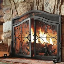 Fireplace Screens With Doors Black Small Decorative Wrought Iron Fire Screen NEW