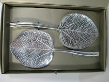Pottery Barn Frangipani Leaf Servers Short Spoon Silver New in Box Set of 2 Gift