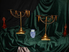 Pair Magnificent Vintage Classic Banquet Table Gold Gilt 4 Pillar Candelabras