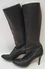 JIMMY CHOO Chocolate Brown Pointed Toe Stiletto Heel Knee High Boots 38.5 UK5.5