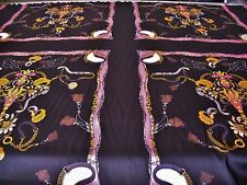 SATIN PANEL PRINT-SADDLE & CHAINS-BLACK/PINK/GOLD -DRESS FABRIC-FREE P&P
