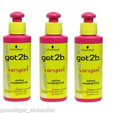 (64,90€/L) 3x 100ml Schwarzkopf got2b VORSPIEL styling Vorbereiter styling