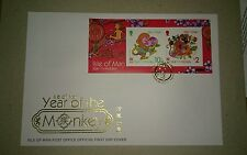 猴年首日封 2016 Isle of Man Lunar Zodiac Monkey Year MS Stamp FDC