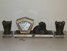 Antique Working 1920's French Art Deco Panther Victorian Mantel Clock Urn Set
