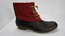 Sperry Top-Sider Women's Saltwater Quilted Nylon Red Duck Boots Size 12 NIB