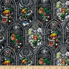 NEW!!  Legend of Zelda Stained Glass on Gray Cotton Fabric by the YARD