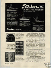 1962 PAPER AD Striker Motor Boat 29' 34' 43' Sport Fisherman Cape Cod Sailboat