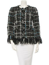 "$7K CHANEL BOUCLE/TWEED ""FANTASY LESAGE"" FRINGE JACKET - FR 36 US 4"