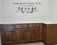 DEPARTMENT OF MISSING SOCKS LAUNDRY LETTERING WALL STICKER DECAL VINYL WORDS