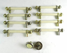 Vintage 8 Cabinet Hardware Cream ceramic & Gold metal drawer pulls & 2 knobs