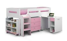 Julian Bowen Kimbo Pink + White Mid Sleeper Bed + Storage + Desk + Kimbo Light