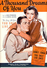 "YOU ONLY LIVE ONCE Sheet Music ""A Thousand Dreams Of You"" Sylvia Sidney Fonda"