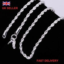 20 pollici 3mm 925 Argento Sterling Collana Catena Corda RITORTA da uomo donne UK STOCK