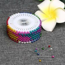 120pcs Pearl Round Colorful Corsage Pins Floral Heads Dress Making Craft Box