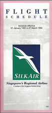 Silk Air system timetable 1/1/93 [6022] Buy 2 get 1 free