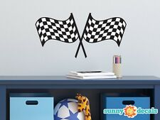 Racing Checkered Flags Fabric Wall Decal - NASCAR Inspired Racing Fabric Decor