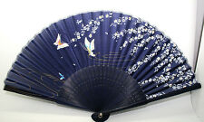 New Arrival Chinese Blue Silk Bamboo Butterfly Floral Hand Folding Fan