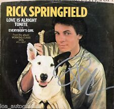 "Rick Springfield hand SIGNED Love is Alright Tonight 7"" vinyl record JSA COA"