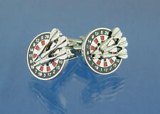 Silver, Black & Red Dart Board With Darts Cufflinks & Gift Pouch Detailed