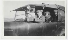 Vintage Old 1920's Photo Man Driving Old Automobile Big Headlamp Light on Side