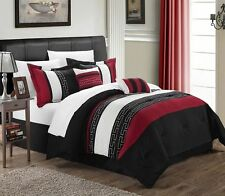 Luxurious 6-Piece Embroidered Comforter Set Bedding Queen Bed in a Bag Red Black
