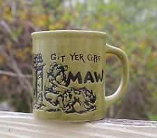 Git Yer Coffe Maw Green Speckled Japan Coffee Mug Cup Farm Wild Boar Redneck
